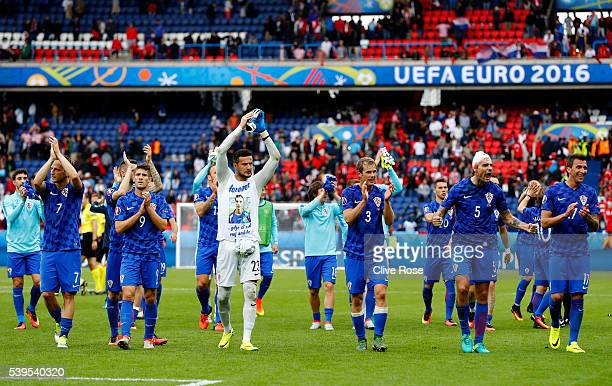 Croatia players applaud the supporters after their 10 win in the UEFA EURO 2016 Group D match between Turkey and Croatia at Parc des Princes on June...