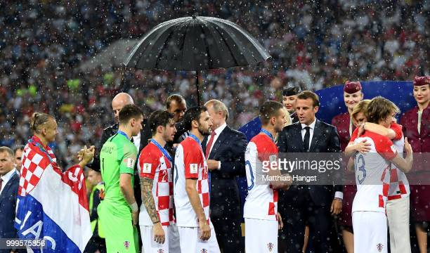 Croatia players are congratulated following the 2018 FIFA World Cup Final between France and Croatia at Luzhniki Stadium on July 15 2018 in Moscow...