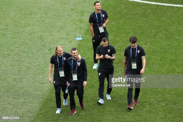 Croatia players attend a pitch inspection prior to the 2018 FIFA World Cup Final between France and Croatia at Luzhniki Stadium on July 15 2018 in...
