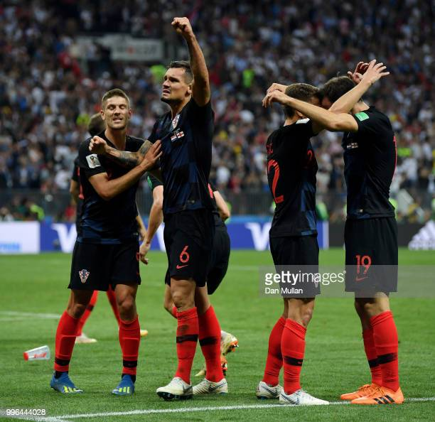 Croatia players celebrate following their sides victory in the 2018 FIFA World Cup Russia Semi Final match between England and Croatia at Luzhniki...