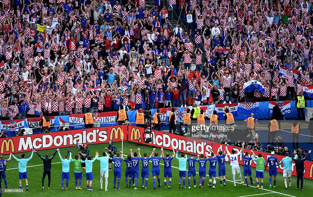 Croatia players celebrate their 1-0 win with supporters after the UEFA EURO 2016 Group D match between Turkey and Croatia at Parc des Princes on June 12, 2016 in Paris, France.