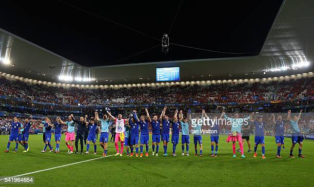 Croatia players celebrate their 21 win in the UEFA EURO 2016 Group D match between Croatia and Spain at Stade Matmut Atlantique on June 21 2016 in...