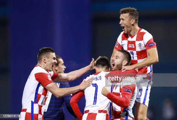 Croatia players celebrate their first goal during the UEFA Nations League Group A3 stage match between Croatia and France at Maksimir Stadium on...