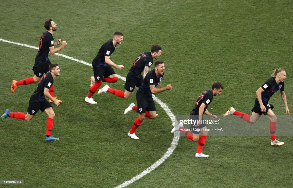 Croatia players celebrate their victory following the 2018 FIFA World Cup Russia Round of 16 match between Croatia and Denmark at Nizhny Novgorod Stadium on July 1, 2018 in Nizhny Novgorod, Russia.