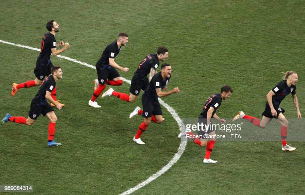 Croatia players celebrate their victory following the 2018 FIFA World Cup Russia Round of 16 match between Croatia and Denmark at Nizhny Novgorod...