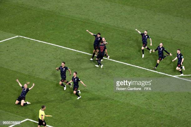 Croatia players celebrate winning the penalty shoot out during the 2018 FIFA World Cup Russia Quarter Final match between Russia and Croatia at Fisht...