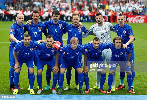 Croatia players line up for the team photos prior to the UEFA EURO 2016 Group D match between Turkey and Croatia at Parc des Princes on June 12 2016...