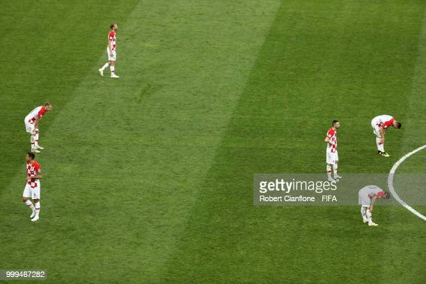 Croatia players look dejected following Paul Pogba of France scoring his side's third goal during the 2018 FIFA World Cup Final between France and...