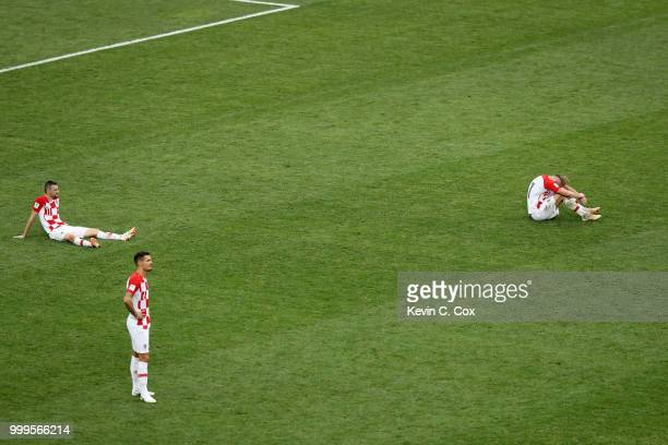 Croatia players look dejected following the 2018 FIFA World Cup Final between France and Croatia at Luzhniki Stadium on July 15 2018 in Moscow Russia