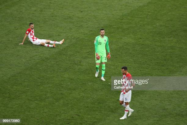Croatia players look dejected following their sides defeat in the 2018 FIFA World Cup Final between France and Croatia at Luzhniki Stadium on July 15...