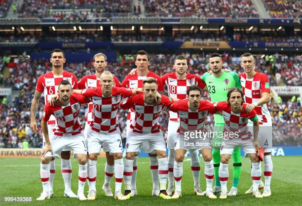 Croatia players pose for a team photo prior to the 2018 FIFA World Cup Final between France and Croatia at Luzhniki Stadium on July 15 2018 in Moscow...