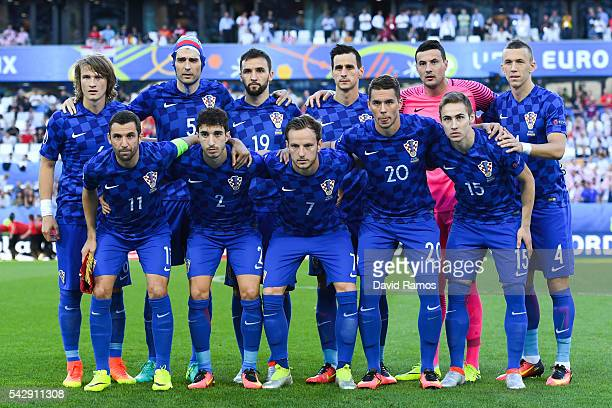 Croatia players pose for a team picture before the kick off of the UEFA EURO 2016 Group D match between Croatia and Spain at Stade Matmut Atlantique...