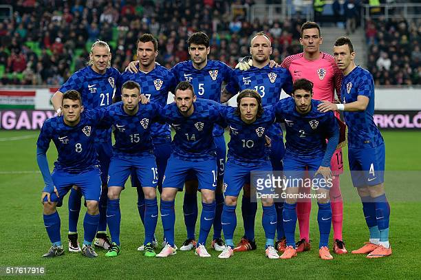 Croatia players pose prior to kickoff during the International Friendly match between Hungary and Croatia at Groupama Arena on March 26 2016 in...