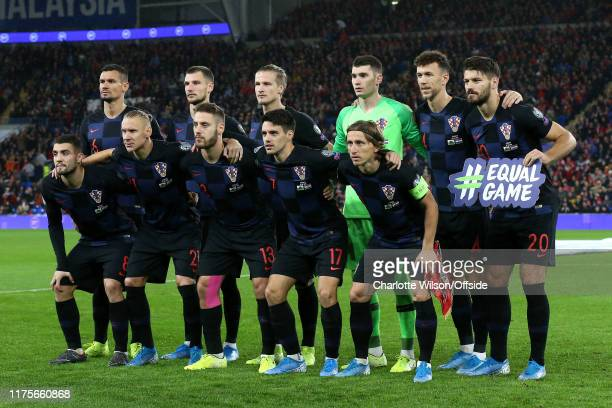 Croatia pose for a team group photo during the UEFA Euro 2020 qualifier between Wales and Croatia at Cardiff City Stadium on October 13 2019 in...