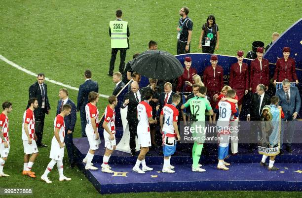 Croatia receive their runners up medals following the 2018 FIFA World Cup Final between France and Croatia at Luzhniki Stadium on July 15 2018 in...