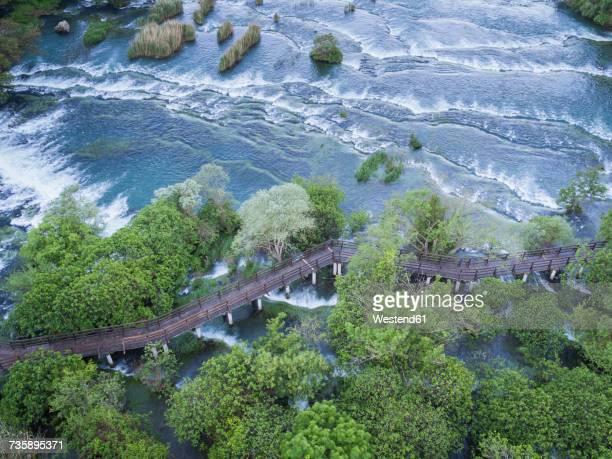 Croatia, Sibenik, Krka National Park, aerial view of waterfall