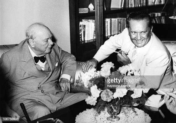 Croatia Sir Winston Churchill With Josip Broz Tito 1960