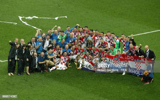 Croatia squad and staff pose for a team photo following the 2018 FIFA World Cup Final between France and Croatia at Luzhniki Stadium on July 15 2018...