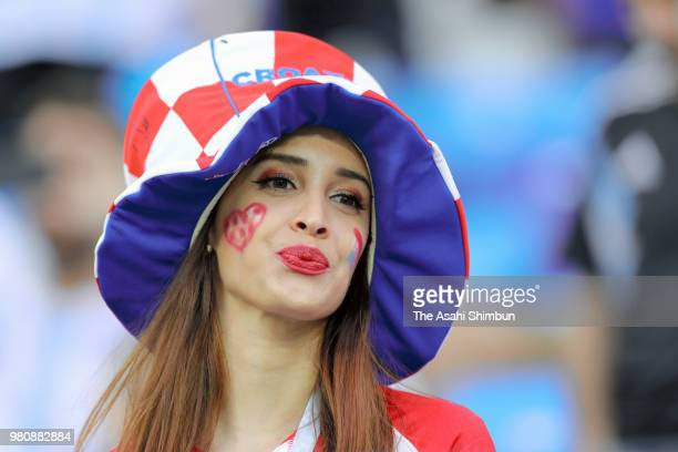 A Croatia supporter is seen prior to the 2018 FIFA World Cup Russia Group D match between Argentina and Croatia at Nizhny Novgorod Stadium on June 21...