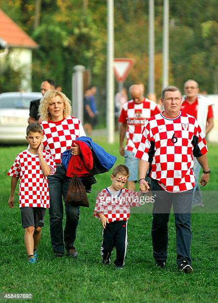 Croatia supporters arrive before the UEFA U21 Championship Playoff Second Leg match between Croatia and England at the Stadion Hnk Cibalia on October...