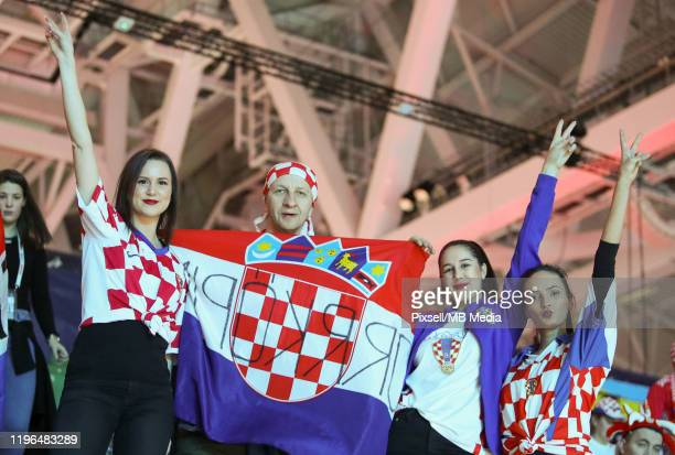 Croatia supporters cheer before the Men's EHF EURO 2020 final match between Spain and Croatia at Tele2 Arena in Stockholm, Sweden on January 26, 2020.