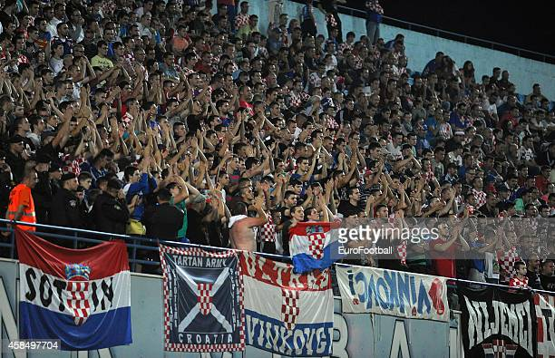 Croatia supporters during the UEFA U21 Championship Playoff Second Leg match between Croatia and England at the Stadion Hnk Cibalia on October 14...