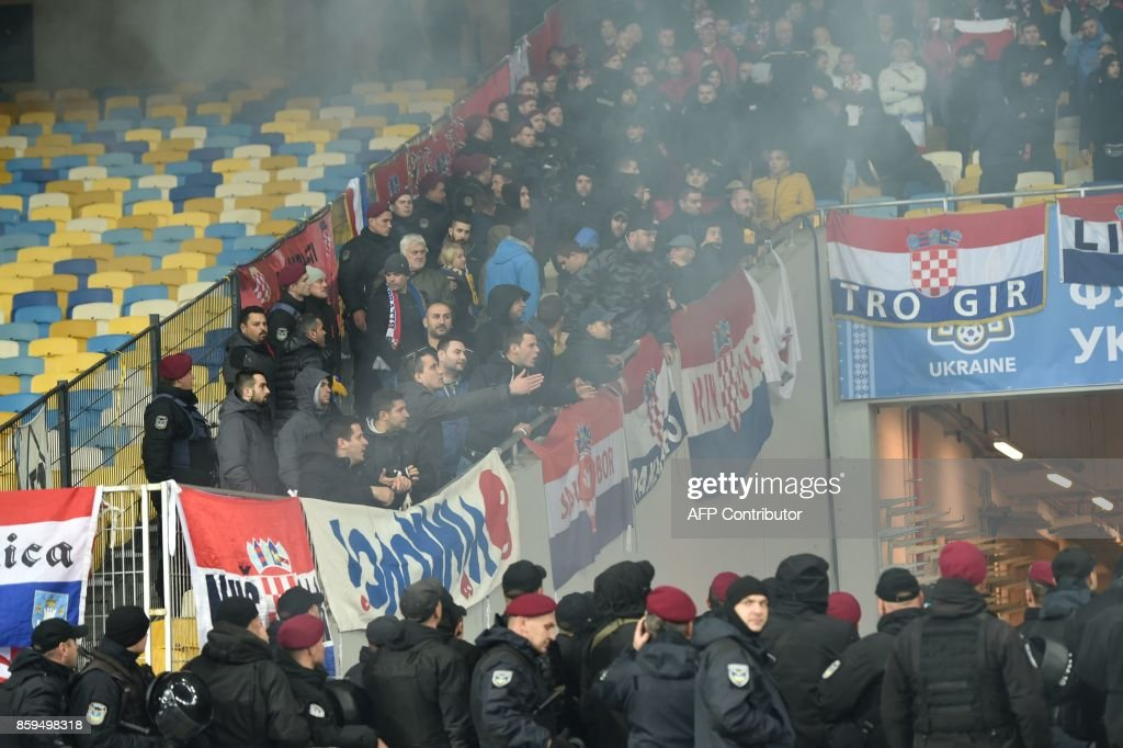 Croatia supporters react during the FIFA World Cup 2018 qualification football match between Ukraine and Croatia in Kiev on October 9, 2017. /