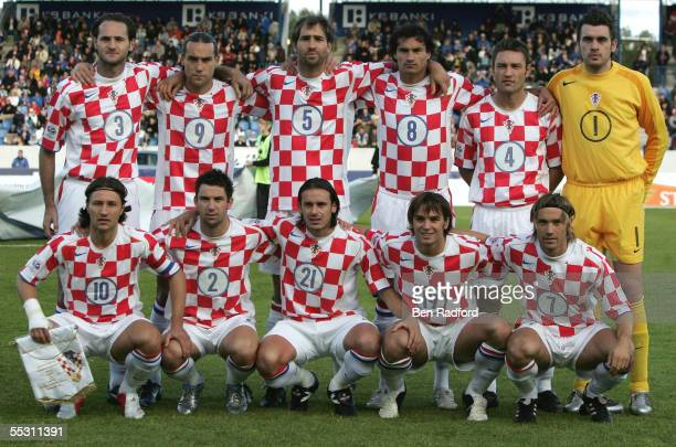 Croatia team line up prior to the 2006 World Cup qualifying match between Iceland and Croatia at Laugardalsvollur Stadium on September 3 in Reykjavik...