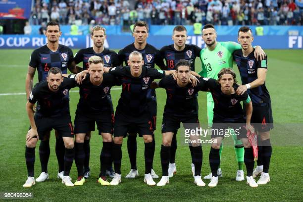 Croatia team pose prior to the 2018 FIFA World Cup Russia group D match between Argentina and Croatia at Nizhny NovgorodStadium on June 21 2018 in...