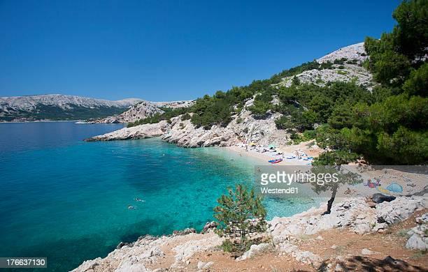croatia, view of beach at krk island - croazia foto e immagini stock