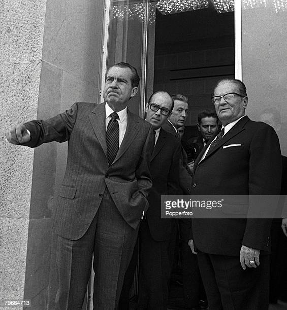Croatia Yugoslavia 2nd October Yugoslavian President Josip Tito and President of the United States of America Richard Nixon after their talks