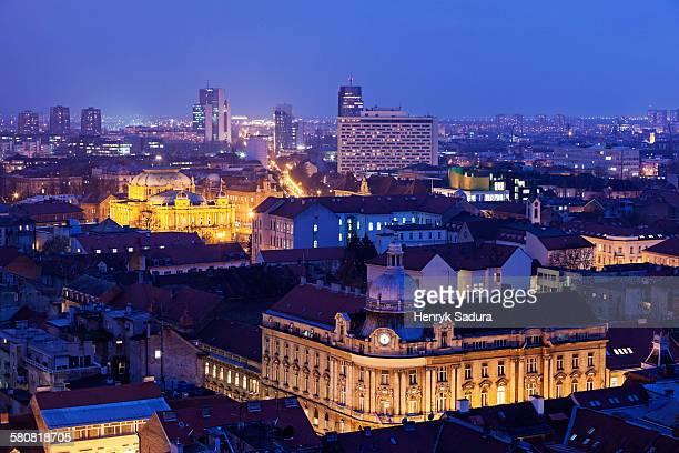 Croatia, Zagreb, Illuminated cityscape at night