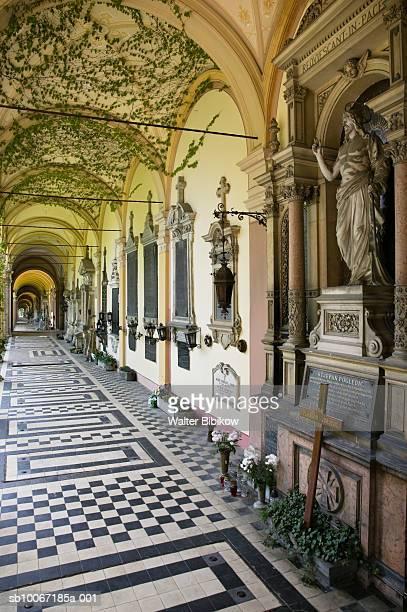 croatia, zagreb, mirogoj cemetery, crypt passageway - zagreb stock pictures, royalty-free photos & images