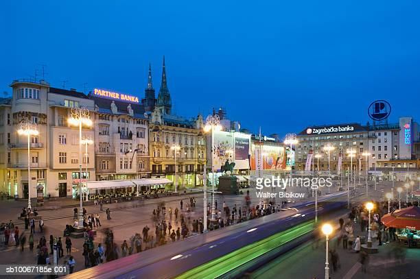 croatia, zagreb, trg josip jelacica square / - capital cities stock pictures, royalty-free photos & images