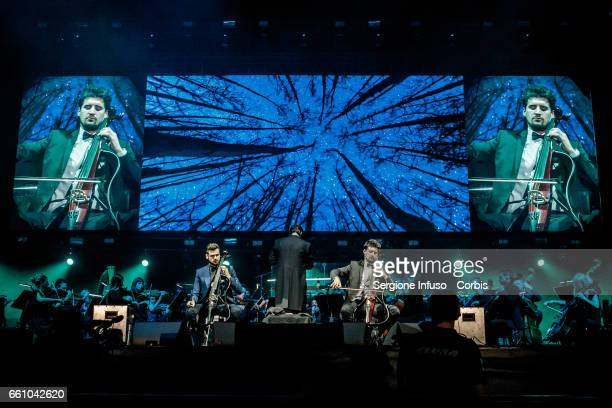 Croatian cello duo 2Cellos consisting of classically trained Stjepan Hauser and Luka Šulić perform on stage on March 30 2017 in Milan Italy