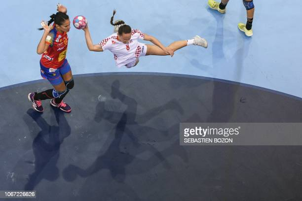 Croatian center back Stela Posavec shoots at goal despite Spanish right back Almudena Rodriguez attempts to block her during the Women Euro 2018...