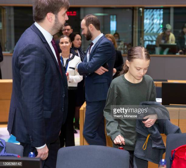 Croatian Environmental Protection Minister President of the Council Tomislav Coric and the Swedish environmental activist on climate change Greta...