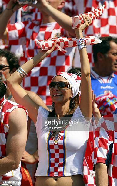 Croatian fan cheers on her team during the FIFA World Cup Germany 2006 Group F match between Japan and Croatia at the Frankenstadion on June 18 2006...