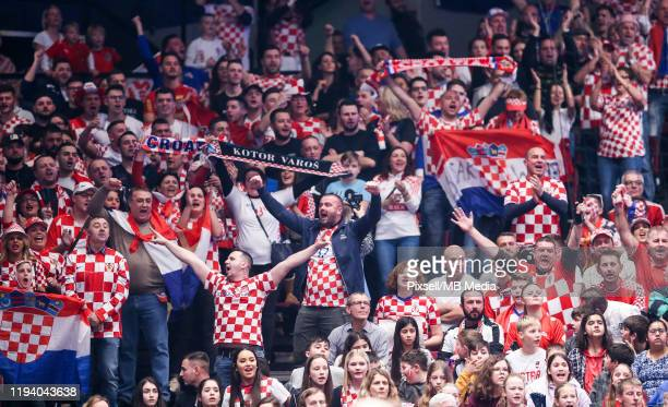 Croatian fans during the Men's EHF EURO 2020 main round group I match between Croatia and Austria at Wiener Stadthalle on January 16, 2020 in Vienna,...