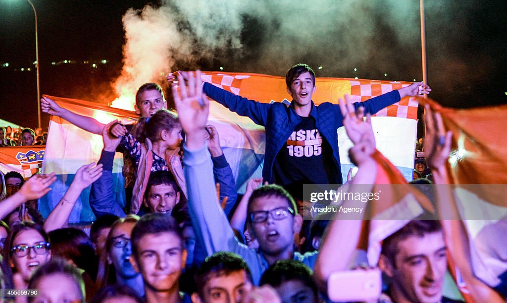 Croatian fans of the 2014 US Open Men's Singles champion Marin Cilic of Croatia, who was born in Medjugorje, attend a concert within Cilic's US Open victory celebrations at his hometown on September 16, 2014 in Medjugorje, Bosnia and Herzegovina.