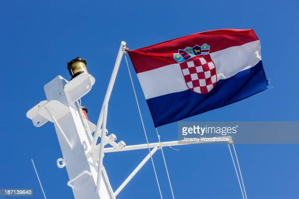 Croatian flag flying from ferry