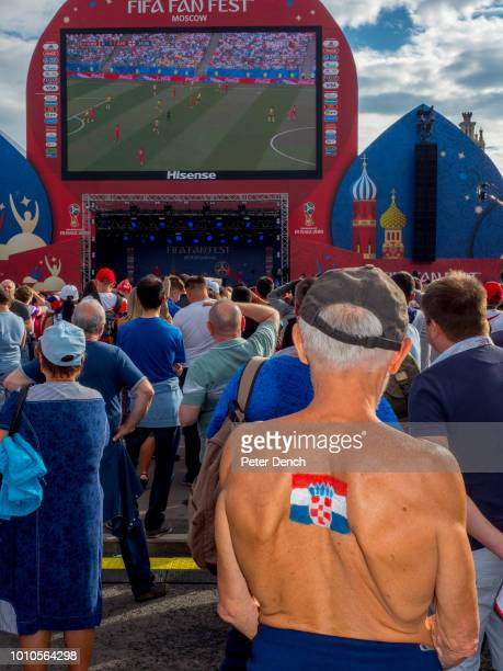 A Croatian football fan at the Moscow FIFA Fan Fest located at Vorobyovy Gory with a venue Capacity of 25000 The site provides a spectacular view...