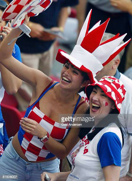 Croatian football fans wait before the Group G first round match Italy/Croatia of the 2002 FIFA World Cup in Korea and Japan 08 June 2002 at Kashima...