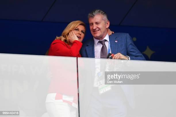 Croatian Football Federation Davor Suker and Croatia's President Kolinda GrabarKitarovic are seen during the 2018 FIFA World Cup Final between France...