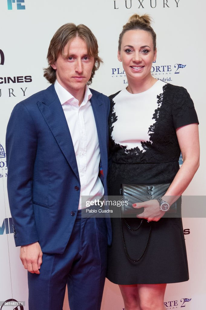 Croatian football player of Real Madrid Luka Modric and wife Vanja Bosnic attend the 'Hombre De Fe' premiere at Yelmo cinema on May 22, 2018 in San Sebastian de los Reyes, Spain.