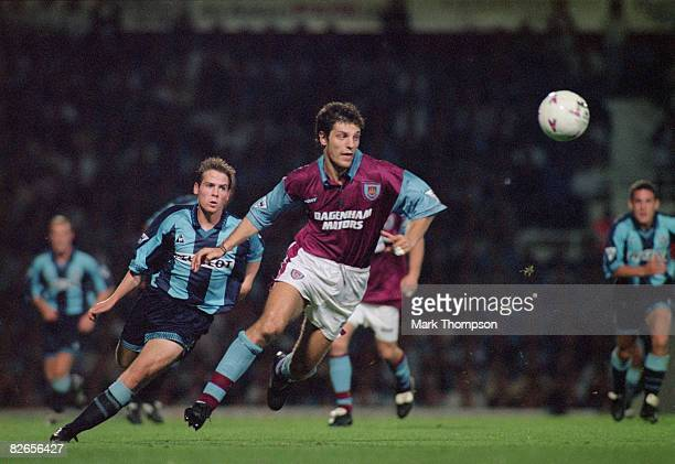 Croatian footballer Slaven Bilic of West Ham United during a Premier League match against Coventry 21st August 1996 They drew 11