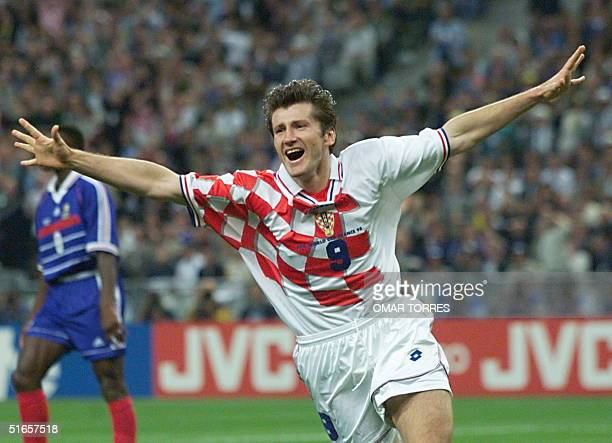 Croatian forward Davor Suker jubilates after scoring a goal for his team 08 July during the Soccer World Cup semifinal match France vs Croatia at the...