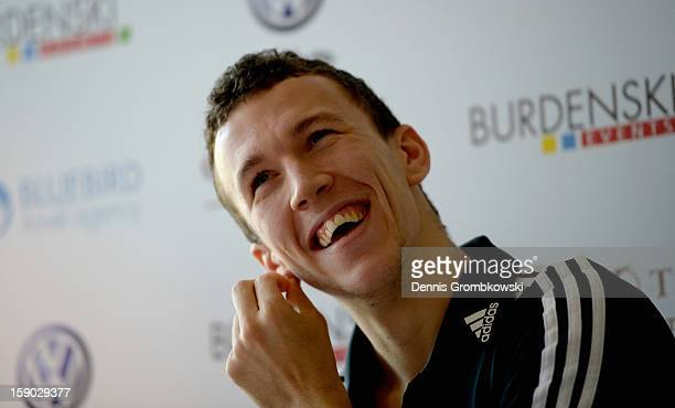 Croatian Forward Ivan Perisic is presented during a press conference after signing for VfL Wolfsburg during day three of the VfL Wolfsburg Training...