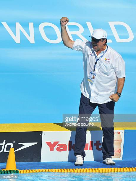 Croatian head coach Ratko Rudic jubilates after his team won over the US team at the end of the Men' water-polo Bronze-Medal match on August 1, 2009...