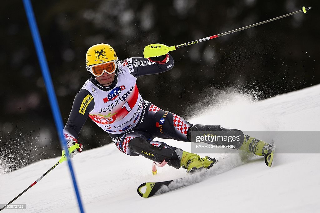 Croatian Ivica Kostelic competes during the Men Slalom race at the Alpine ski World Cup finals on March 17, 2013 in Lenzerheide.